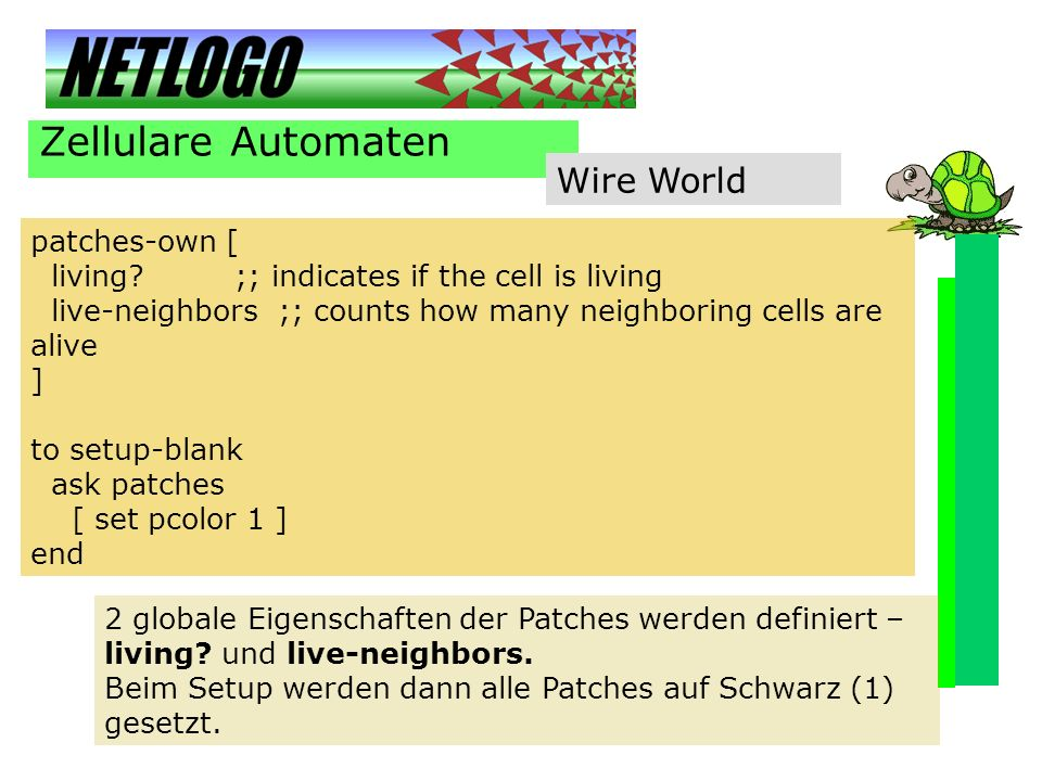 Zellulare Automaten Wire World patches-own [